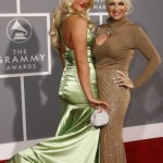 Mother and daughter strike a pose at the 49th Annual Grammy Awards