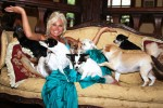 Linda with her lovable dogs at home